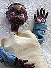 1950s Artisan Crafted Papier Mache Black Boy Puppet Folk Art