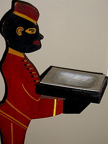 C1940s Painted Wood Black Man Bell Hop Ash Tray Stand
