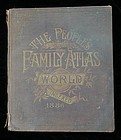 1886 World Family Atlas w/ Hand Colored Maps