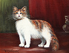 Painting of a Cat by W.C. Addison,  (American, 19th)
