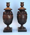Rare Pair of Grand Tour Bronze Candlesticks
