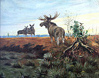 Moose in a Landscape by Karl Wagner (German, 1887-1966)