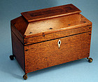 Antique Quarter-sawn Oak Tea Caddy