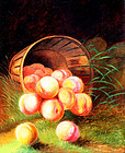 Peaches Tumbling from a Basket (American, c. 1870)