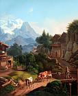 Pastoral Alpine Village (19th C. Swiss School)