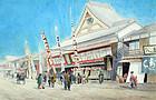 Japanese Street Scene by Kasen Ohira