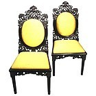 Rare Pair of Anglo Indian Carved Ebony Sidechairs