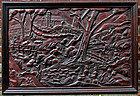 Early English Carved Oak Panel with a Hunt Scene