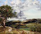 Summer Landscape with Rolling Hills and  Resting Billy