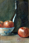 Tabletop Still life with Bowl of Apples and Wine Bottle