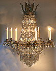 French Empire Style Crystal and Ormolu Chandelier