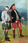 Two Scotsmen with Kilts and Walking Sticks