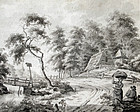 18th Century Drawing of Figures in a Country Landscape