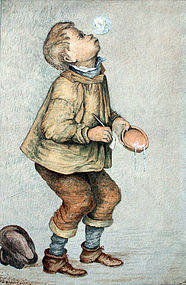 British Watercolor of a Boy Blowing Bubbles