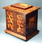 Remarkable Antique English Tunbridge ware Jewelry Box