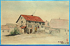19th Century German Watercolor of a House