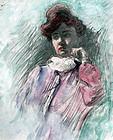 Portrait of a Pensive Woman by James M. Hughes