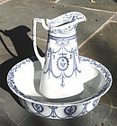 Antique Staffordshire Pitcher and Bowl