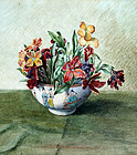 Watercolor of Flowers in a Chinese Bowl