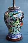 Fine Antique Chinese Famille Noire Lamp