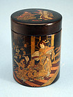 Antique Japanese Black Lacquer Tea Caddy