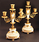 Fine Pair of Antique French Marble and Ormolu Candelaba