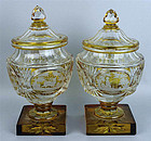 PAIR OF BOHEMIAN GLASS SWEETMEAT COVERED COMPOTES