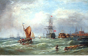 """""""The Old Ship Victory"""" by Ebenezer Colls (Br., b. 1812)"""