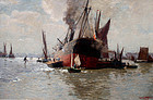 Marine Painting of Steam and Sail Ships in London Harbor by Wagner