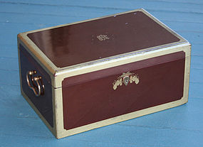 Antique Chinese Export Rouge Lacquer Tea Caddy