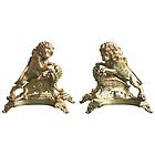 Exceptional Pair of 19th Century French Gilt Bronze Chenet