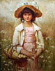 Painting of a Girl w/ Flowers by Edith M. S. Scannell (British b.1852)