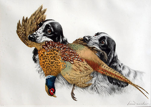 Two Cockers with Pheasant by Léon Danchin ( French1887 - 1938)