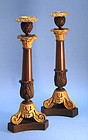Pair of Italian Grand Tour 19th Century Bronze and Ormolu Candlesticks