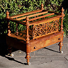 Antique Victorian Burled Walnut Canterbury