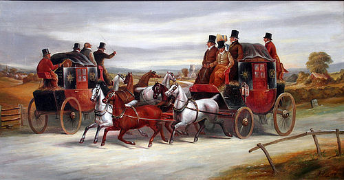 Coaching Painting by James Pollard (British 1792-1867)