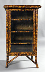 Small Victorian Faux Tortoise Shell Bamboo Cabinet