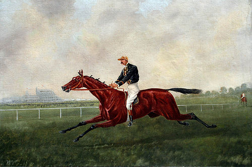 19th Century British Painting of a Jockey Galloping a Horse