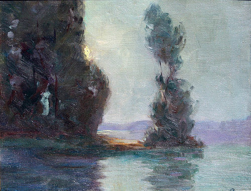 Moonrise on the Bay by August Rolle  (American 1875-1941)