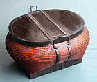Large Antique Oval Chinese Split Bamboo Basket