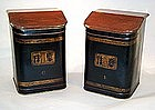 Large Pair of Antique Painted Tea Bins