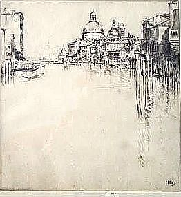Etching of Venice by Ernest David Roth (Am. b. 1879)