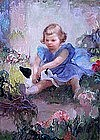 Girl with a Puppy by Gladys Nelson Smith (Am. b 1890)