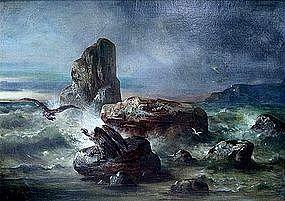 Early California Painting of Condors at Moro Bay