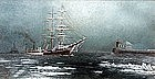 American Ship and Tugboat in an Icy Harbor, Oil on canvas, 19th C.