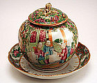 Rare antique Chinese Famille Rose Mustard Pot