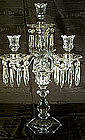 Pair of Antique Molded Glass and Crystal Candelabra