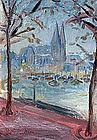 Harbor Scene by Otto Hodapp (German, 1894-1968)