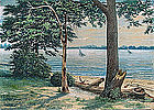 Watercolor of Sailboats on a Lake