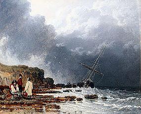 Shipwreck on the Beach by John Ward